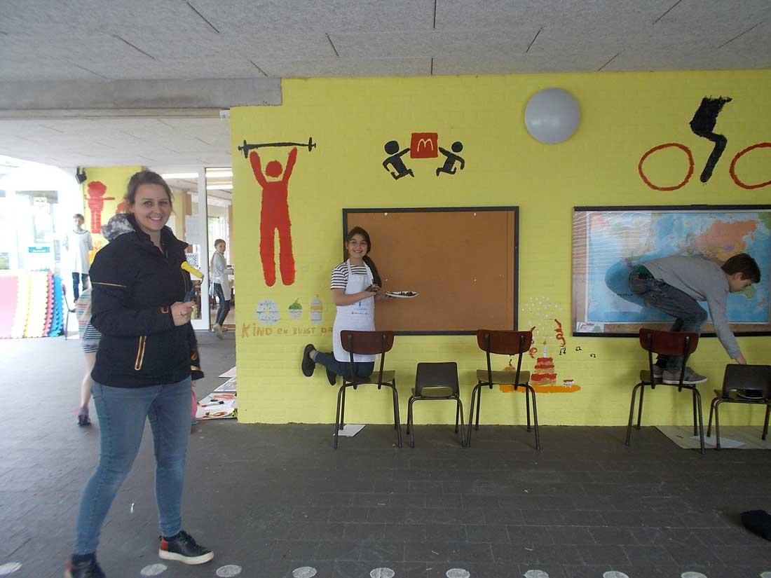 Kind- en kunstdag — muurschildering — De Ark