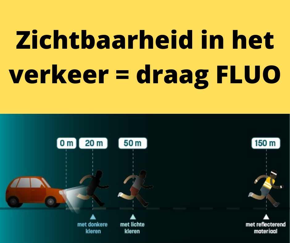 Fluo dragen = zichtbaar in het verkeer